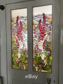 Ravens & the moon Stained glass style original hand painted panels 60cm x 35cm