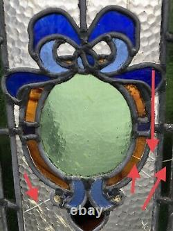 Reclaimed Emblem Leaded Light Stained Glass Wooden Window Panel NEED RESTORATION
