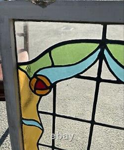 Reclaimed Leaded Light Stained Glass Art Nouveau Wooden Window Panel