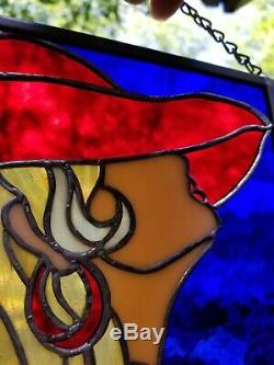 Red Hat Nude Stained Glass Woman Figure Hanging Panel Art Nouveau Female Form