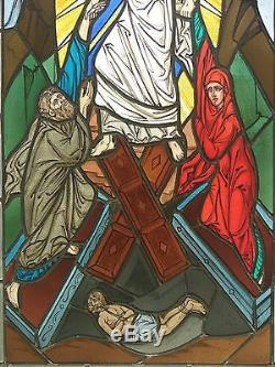Religious stained glass panel/ Christ resurrecting the dead