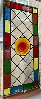 Rising Sun- Stained Glass window panel (12 5/8 X 28 5/8) Free Shipping