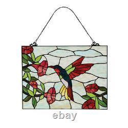 River of Goods Hummingbird & Flower Stained Glass Panel Art Glass Sun Catcher