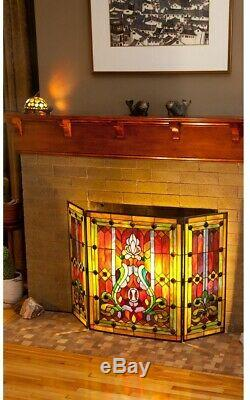 River of Goods Stained Glass 3-Panel Decorative Fireplace Screen Gold