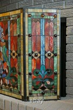 River of Goods Stained Glass Fleur De Lis 3-Panel Fireplace Screen 8221