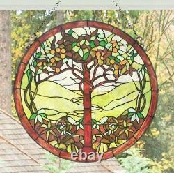 Round 24inch Tree of Life Stained Glass Suncatcher Window Panel
