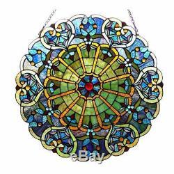 Round Tiffany Style Stained Glass Window Panel Suncatcher