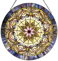 Round Victorian Stained Cut Glass Window Panel 22 Diameter Suncatcher