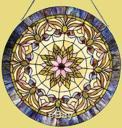 Round Victorian Stained Glass Window Panel Tiffany Style LAST ONE THIS PRICE