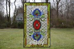 SOLD OUT! 20.75 x 34.75 Decorative Jeweled Tiffany Style stained glass panel