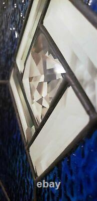 STUNNING Beveled& Jeweled Stained Glass Window Panel- 21 7/8 x 15 5/8