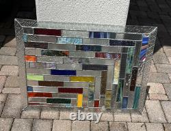 STUNNING Stained Glass Window Panel 26x18 Inches Multi Color Unique