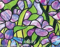 Saint-remy European Style Garden Iris Stained Glass Window Panel
