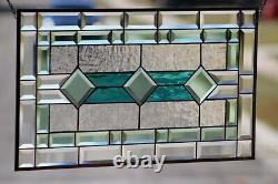 Sale $ 25.00 Off Classic Green's Beveled Stained Glass Panel 28 5/8x16 1/2