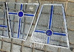 Set 4 Vintage Victorian Coloured Stained Blue Glass Panels Rare