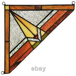 Set of 2 Mission Tiffany Style Stained Glass Corner Window Panel 8 Home Decor