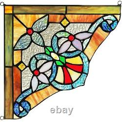 Set of 2 Victorian Tiffany Style Stained Glass Corner Window Panel 10 Decor