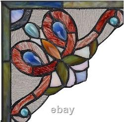 Set of 2 Victorian Tiffany Style Stained Glass Corner Window Panel 8 Home Decor