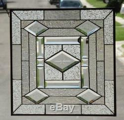 ShimmerBeveled Stained Glass Window Panel 20 1/8 x 19 3/4