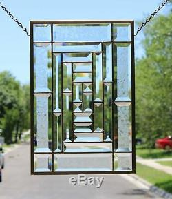 Silver Beauty-Clear, Beveled Stained Glass Window Panel, Hanging
