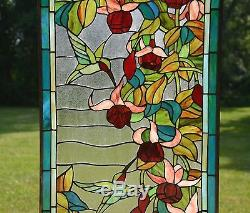 Sold out! Large Tiffany Style stained glass window panel Hummingbirds & Flower