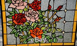Sold out! Tiffany Style stained glass window panel Rose Flowers, 20 x 34