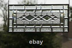 Sophistication Beveled Stained Glass Window Panel-Transom-26.5x 12.5
