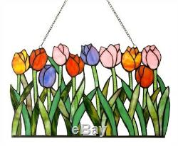 Spring Tulip Flowers Stained Glass Tiffany Style Hanging Window Panel Floral