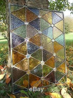 Stained Glass Autumn Suncatcher Transom Window Panel 17 x 13