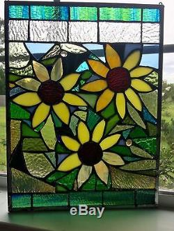 Stained Glass Autumn Sunflowers Transom Window Panel 12x16