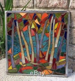 Stained Glass Autumn Trees Mosaic Window Suncatcher Panel Transom OOAK