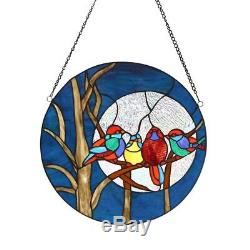 Stained Glass Birds & Moon Window Panel 16 Diameter Round Tiffany Style