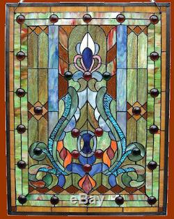 Stained Glass & Cabochons Tiffany Style Window Panels 18 x 25 PAIR Handcrafted