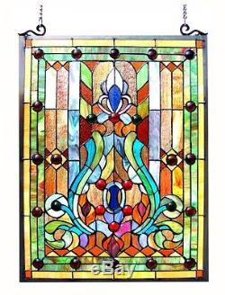 Stained Glass & Cabochons Victorian Design Window Panel 18 x 25 Handcrafted
