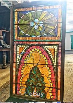 Stained Glass & Cabochons Victorian Design Window Panel 63 3/4 in X 35 3/4 in