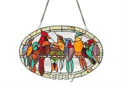 Stained Glass Chloe Lighting Birds Window Panel CH3P452RA23-GPN 23.4 X 15 Inches