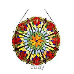 Stained Glass Chloe Lighting Dragonfly Window Panel 24 Diameter Handcrafted New