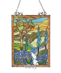 Stained Glass Chloe Lighting Floral Window Panel 18 X 24 Inches Handcrafted New