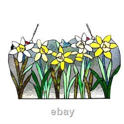 Stained Glass Chloe Lighting Flowers Window Panel 23 Inches Wide Handcrafted
