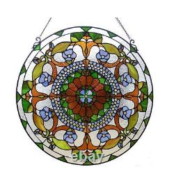 Stained Glass Chloe Lighting Round Victorian Window Panel CH1P512CV24-GPN 24