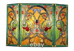 Stained Glass Chloe Lighting Victorian 3 Panel Folding Fireplace Screen 44 X 28