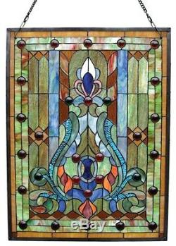 Stained Glass Chloe Lighting Victorian Window Panel 19 X 24.75 Handcrafted New