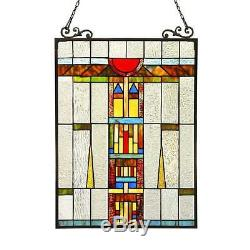 Stained Glass Chloe Lighting Window Panel CH3P701CB24-GPN 17.5 X 25 Handcrafted