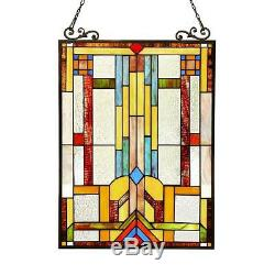 Stained Glass Chloe Lighting Window Panel CH3P703CB24-GPN 17.5 X 25 Handcrafted