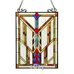 Stained Glass Chloe Lighting Window Panel CH3P704CB24-GPN 17.5 X 25 Handcrafted