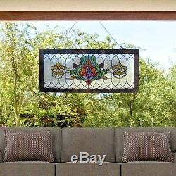 Stained Glass Fleur De Lis Pub Window Transom Panel Tiffany Style 30 L x 14 H