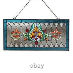 Stained Glass Fleur De Lis Pub Window Transom Panel Tiffany Style Suncatcher