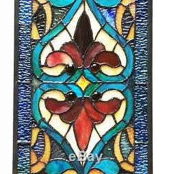 Stained Glass Fleur De Lis Tiffany Style Colorful Window Front Door 36 Panel