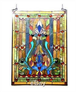 Stained Glass Fleur de Lis Victorian Tiffany Style Window Panel ONE THIS PRICE