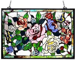 Stained Glass Flower Suncatcher Tiffany Style Window Panel Hanging Wall Art NEW